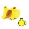 กล่องพักสายไฟ กลม 2 ทางมุม สีเหลือง พีวีซี อริยะ ราคาถูก