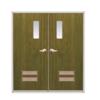 ประตูเหล็ก DoorTech บานคู่ ND-06 Pinewood Black DTD-140 ราคาถูก