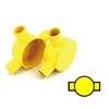 กล่องพักสายไฟ กลม 2 ทางผ่าน สีเหลือง พีวีซี อริยะ ราคาถูก